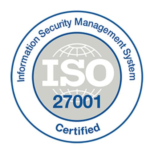 ISO/IEC 27001:2013 International Standard Certificate