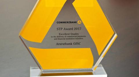 """ԱՐԱՐԱՏԲԱՆԿԸ վեցերորդ անգամ դարձել է  COMMERZBANK AG-Ի """"Որակի գերազանցության"""" մրցանակակիր"""